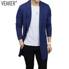 2018 nuevo cárdigan de otoño de los hombres suéteres de punto Casual suéter  abrigo de Color sólido manga larga Slim Fit cárdigan. 08c1c1e54bf6