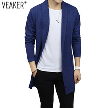 2018 New Men's Autumn Cardigan Sweaters Male Casual Knitted Sweater Coat Solid Color Long Sleeve Slim Fit Cardigans Outerwear