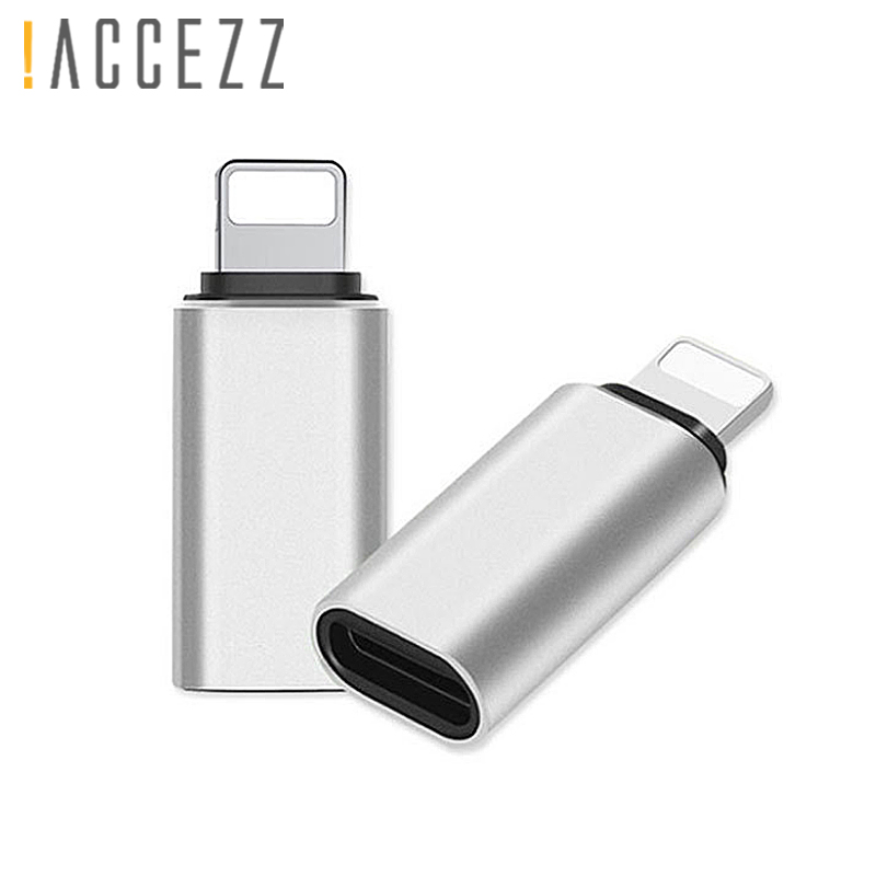 !ACCEZZ 5PC USB OTG Adapter For Iphone X 7 8 Plus XS MAX XR Sync Data Charger Type-C To Lighting 8 Pin Converter For Apple 6S 5S