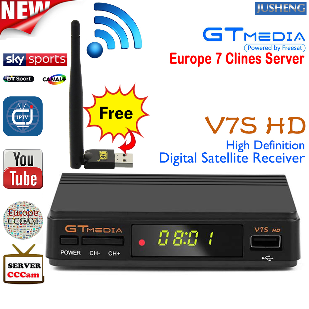 GT Media V8 Nova DVB-S2 Freesat Satellite Receiver H 265 built-in WIFI  Support CCcam 7clines PowerVu DRE &Biss key WEB TV,IPTV,