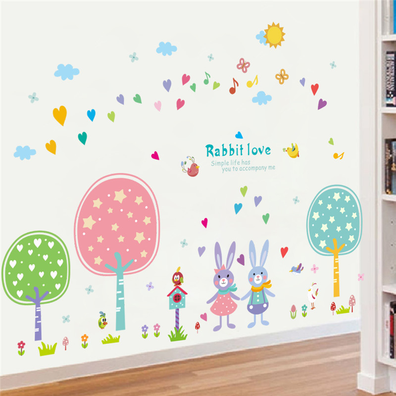 colorful rabbit flower balloons Flag wall sticker for kids