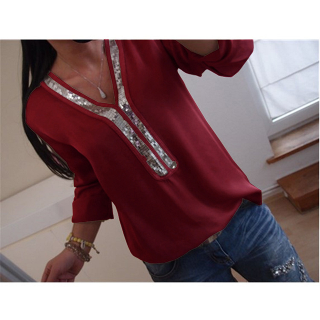 ce2ae01841dc Spring Summer Blouse Casual Top Women's Shirts Sequins V Neck Loose Blouses Office  Elegant Long Sleeve Chiffon Shirt Blusa White