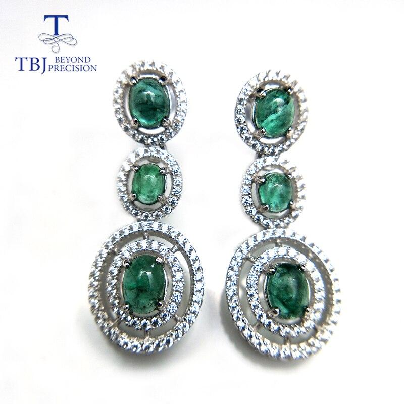 TBJ Natural green emerald luxury elegant earring studs 925 sterling silver gemstone fine jewelry for women