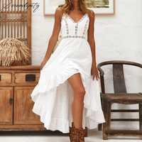 Vestido de verano blanco sin mangas de encaje para Mujer playa elegante vestido ahuecado bohemio largo Sexy sin espalda Boho vestido de verano para Mujer