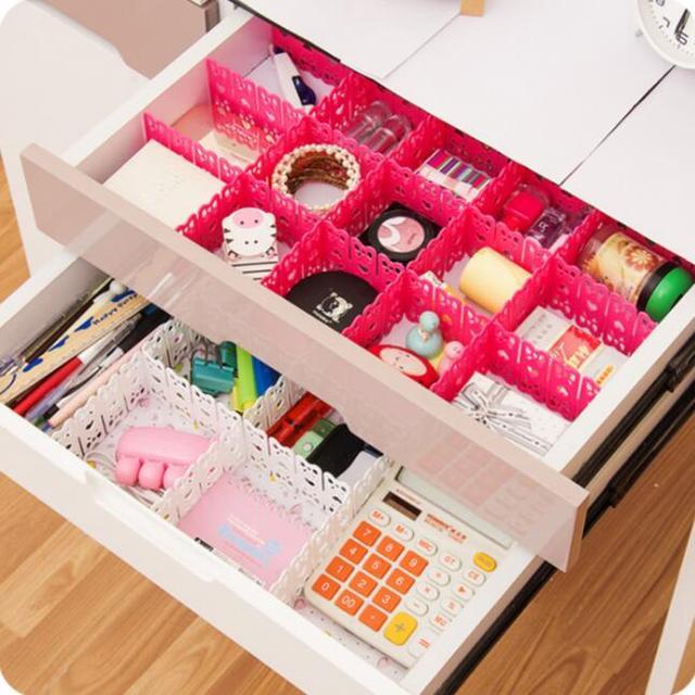 DIY Drawer Organizer Partition Cutout Plastic Storage Drawers Septum 3  Pieces/Lot Underwear Storage Adjustable