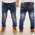 Розничная новинка мода мальчиков джинсы детская свободного покроя брюк бесплатная доставка возраст для 2 ~ 7 лет джентльмен мальчик молния жан