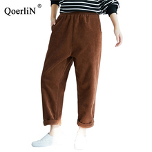 QoerliN Corduroy Pants Women Vintage Harem Elastic Waist Long Trouser Pocket Big Size Large Female Camel Trousers