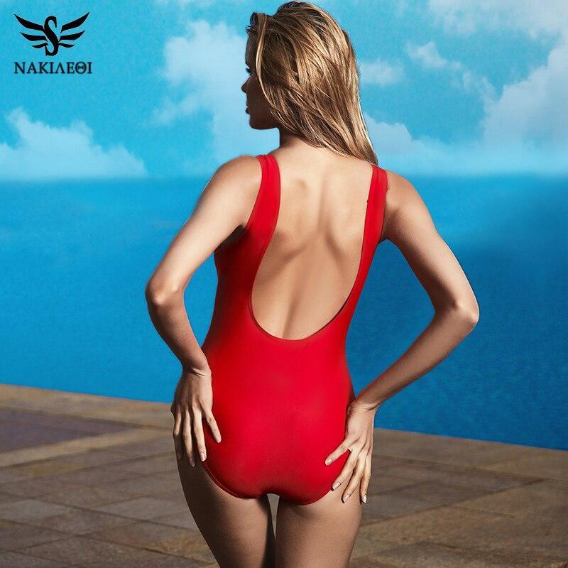 NAKIAEOI 2018 New One Piece Swimsuit Sexy Swimwear Women Bandage High Cut Bodysuit Backless Bathing Suit Swim Beach Red Monokini 2
