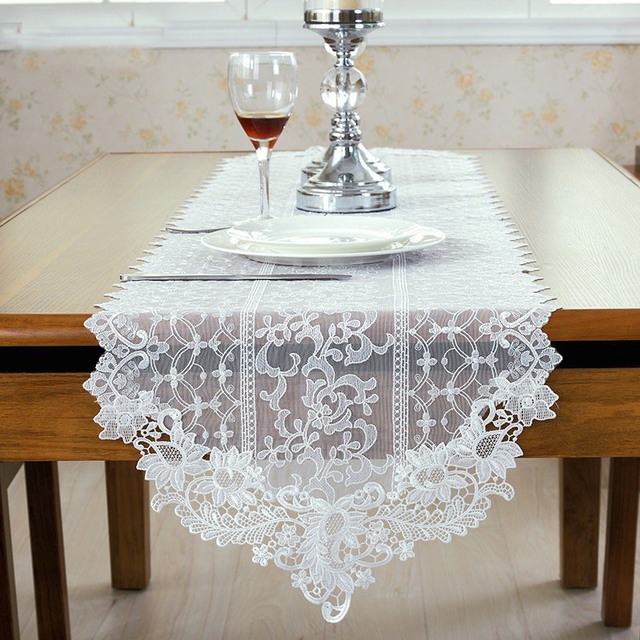 Fashion European Style White Lace Table Runner Wedding White Table Runners  For Party Decoration Luxury Wedding