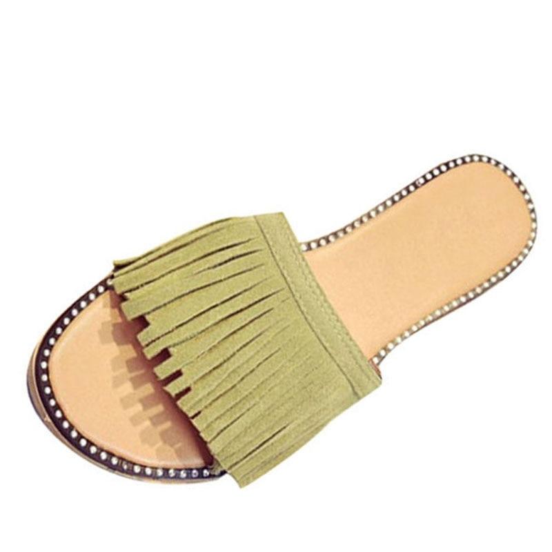 2016 Tassel Slippers Vintage Flip Flops Summer Gladiator Sandals Platform Shoes Woman Slip On Flats Casual