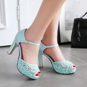 Image 3 - women Summer lace mesh shoes Fish Mouth high heel ladys platform sandals evening dress wedding shoes femal zapatos de mujer 43