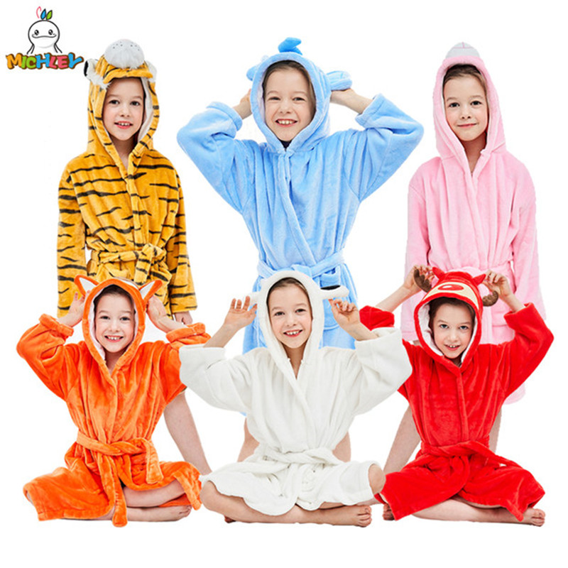 MICHLEY Kids Bath Robes Adorable Baby Girl Roupao Hooded Children's Towel Six Kinds Animals Bathrobes Beach Swimwear Boy Pajamas