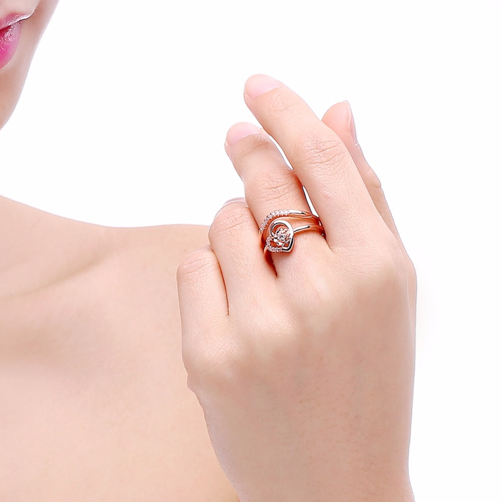 DODO Forever Love Cubic Zirconia Heart Ring Anniversary Jewelry ...