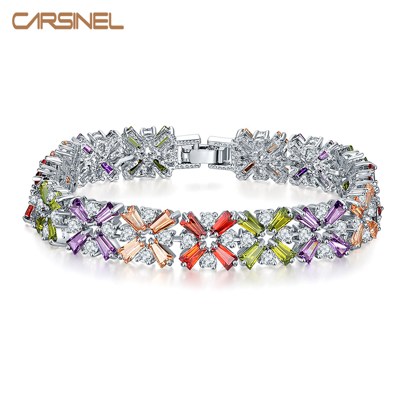 CARSINEL Colorful Luxury Champagne/ Rose Gold Color Cubic Zircon Bracelet Bangles for Women Charm Wedding Bracelet Gift BR0158