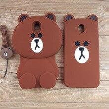 Cute Cartoon 3D Bear Phone Case for Samsung Galaxy 2017 J3 J330 J5 J530 J7 J730 (EU Version) Soft Silicone Rubber Cover Coque
