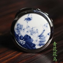 Chinese style lotus peach ceramic folding mirror