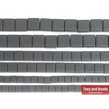 Pietra naturale senza forma quadrata magnetica perline di ematite nera 4x4 6x6 8x8MM 15