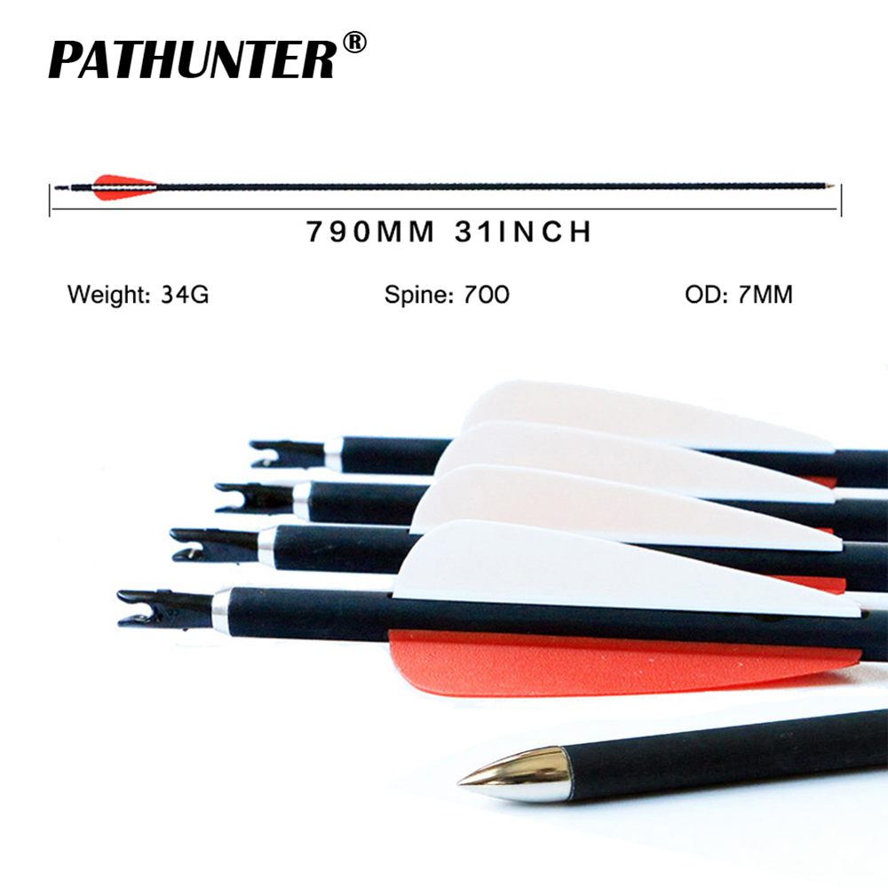 PATHUNTER Wholesale 12CS 31inch SP700 OD 7MM Carbon Arrow Archery Target Hunting Arrows With Steel Point For Recurve Bow