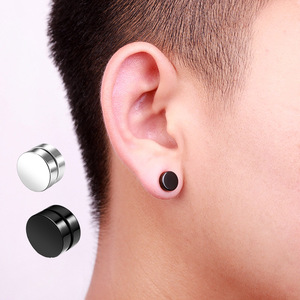 1pcs 6/8/10mm Hot Double Side Black Silver Color Magnet Round Circle Punk Stud Earrings Stainless Steel Men's Magnetic Ear Studs(China)