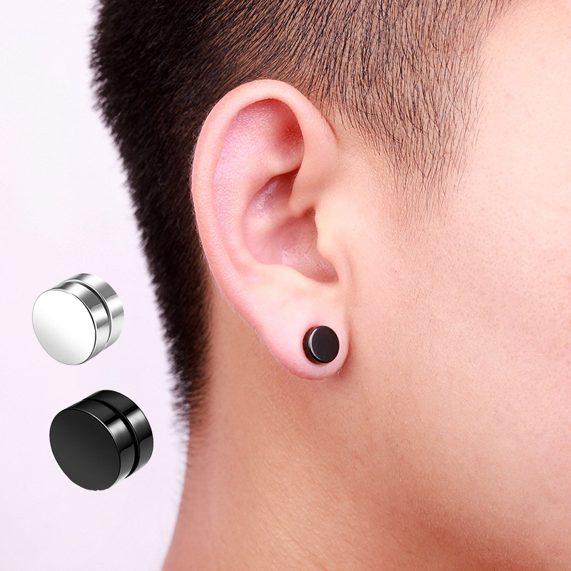 2pcs/lot 6/8/10 Mm Hot Double Side Black Magnet Round Circle Punk Stud Earrings Stainless Steel Men's Magnetic Ear Studs
