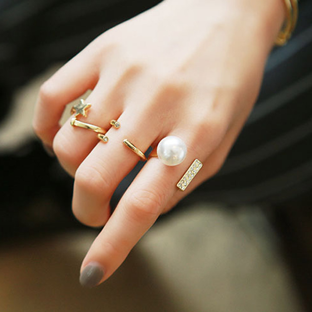 Set Simple Fashion Ring Set Simulated Pearl Gold Plated Stars Design  Open Finger Rings