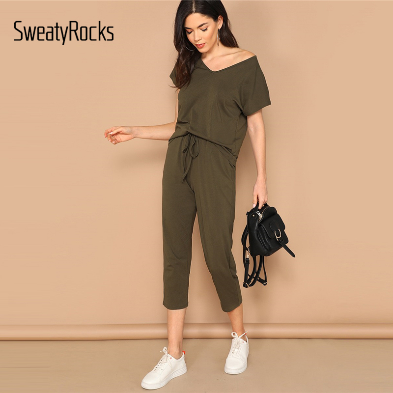 SweatyRocks V-neck Solid Tee And Elastic Waist Pants Set Streetwear Female Army Green Two Piece Set 2019 Summer Women Tshirt Set