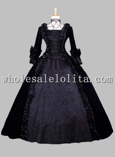 Gothic Black Jacquard Pleuche Victorian Era Dress Historical Stage Costume