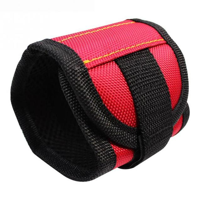 2018 New Polyester Magnetic Wristband Portable Tool Bag Electrician Wrist Tool Belt Screws Nails Drill Bits Holder Repair Tools