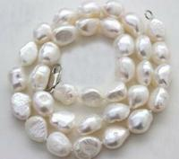 Wholesale price ^^^Woman 17'' Necklace 9 10mm white baroque pearl real natural freshwater pearl