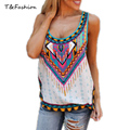 2016 TopFashion Casual Women T-shirt Artistic Vintage Retro  National Wind Tops Colorful Flower Print Vest Plus Size