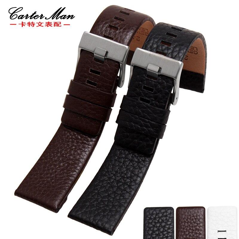Para Diesel whachband Lichee padrão da moda dos homens das mulheres pulseira de couro genuíno com fivela de aço inoxidável 22 24 26 27 28 30