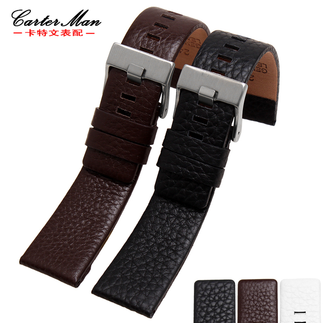 for Diesel whachband women's men's fashion Lichee pattern genuine leather strap with stainless steel buckle 22 24 26 27 28 30