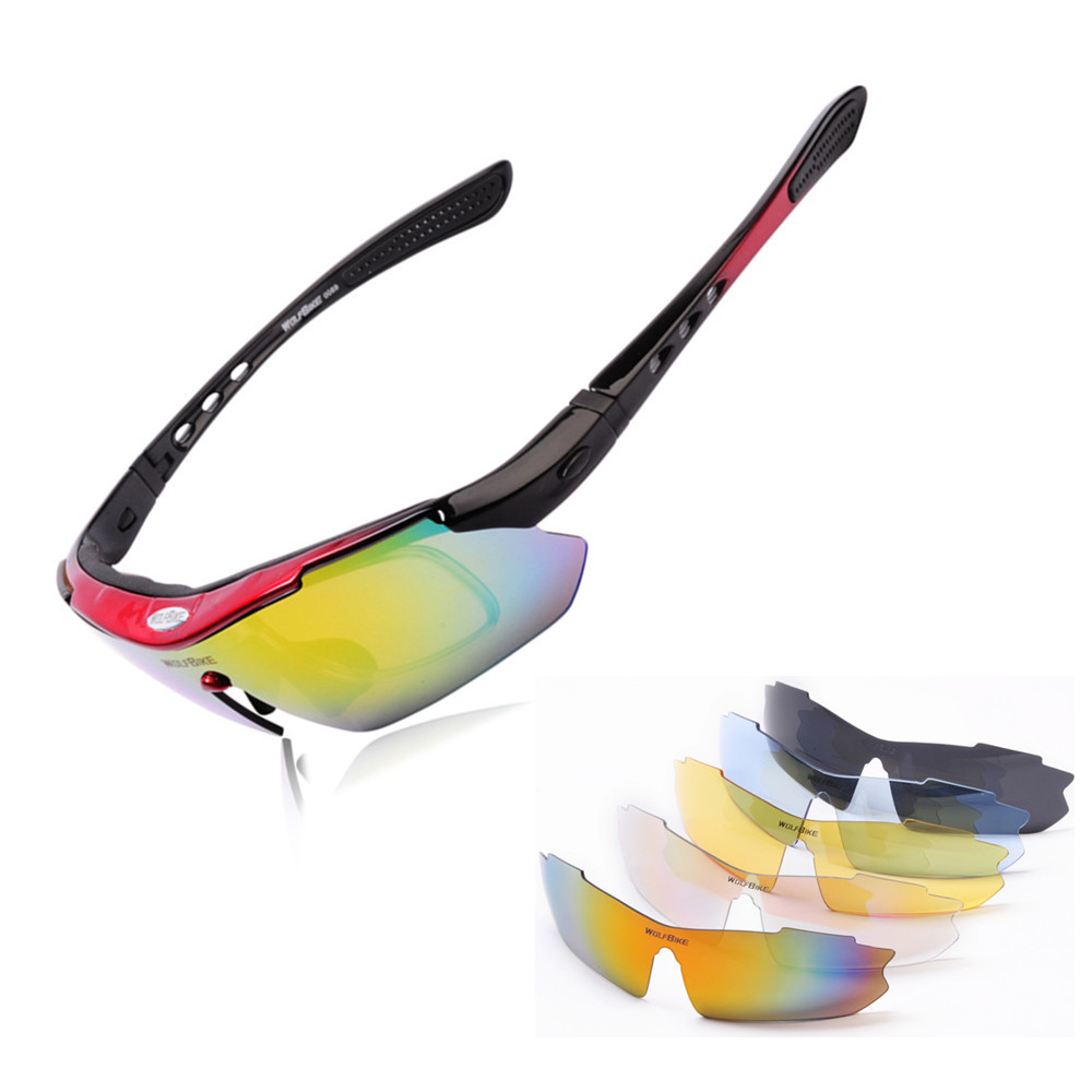 WOSAWE Polarized Sunglasses Windproof Cycling Sunglasses Mtb Fishing 5 Leans Prescription Motorcycle Glasses Bike for Men Women