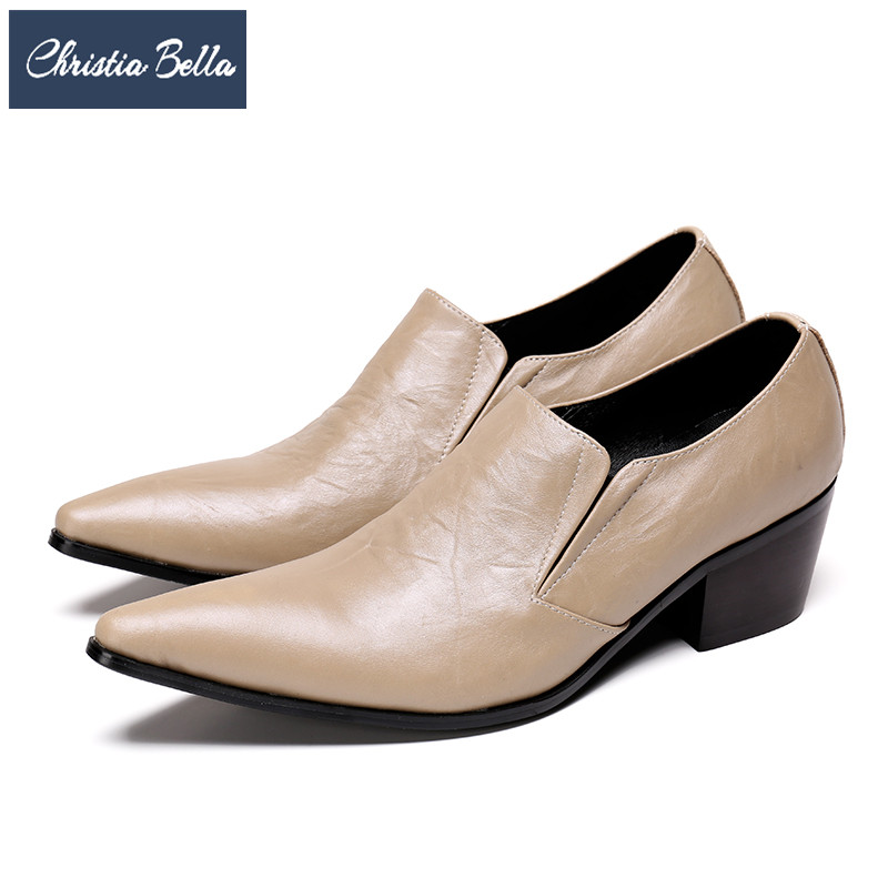Christia Bella Fashion Men Dress Shoes Solid Genuine Leather Pointed Toe Business Formal Shoes Plus Size Height Increasing Shoes christia bella italian fashion business men dress shoes genuine leather pointed toe wedding formal shoes plus size office shoes