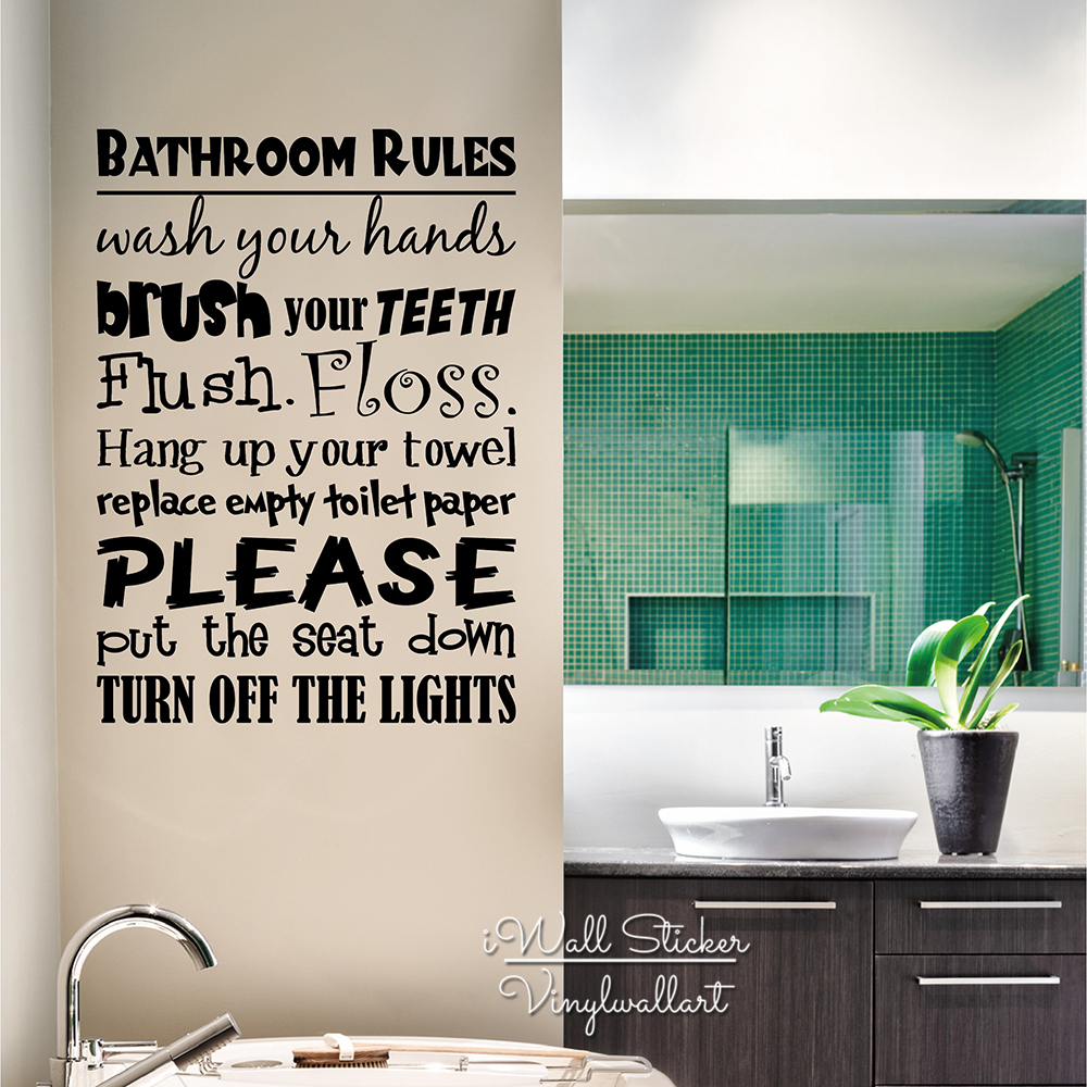 Bathroom Rules Vinyl Lettering Wall Decal Home Quotes Sticker Decor Diy