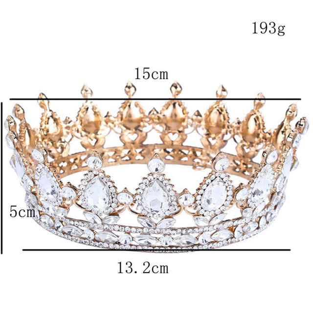 Vintage Baroque Queen King Bride Tiara Crown For Women Headdress Prom Bridal Wedding Tiaras and Crowns Hair Jewelry Accessories 5