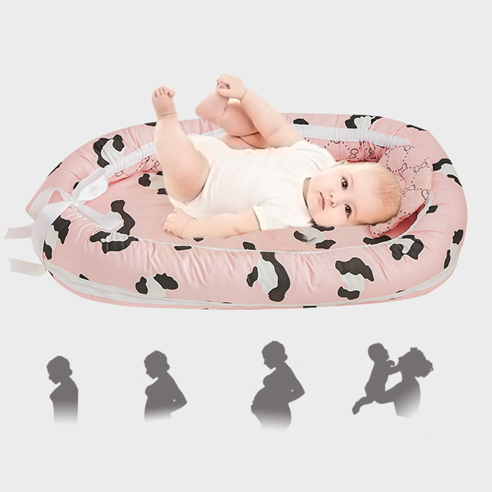 Baby Bed Travel Portable Nest Crib Multi-functional Folding Washable Baby Carrycot Detachable Bumper Cartoon Printed Bed In Bed