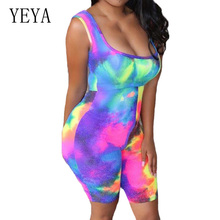 YEYA Vintage Tie Dyeing Off Shoulder Sleeveless Playsuits New Arrival Women Summer Hollow Out Casual Combinaison Pantalon Femme