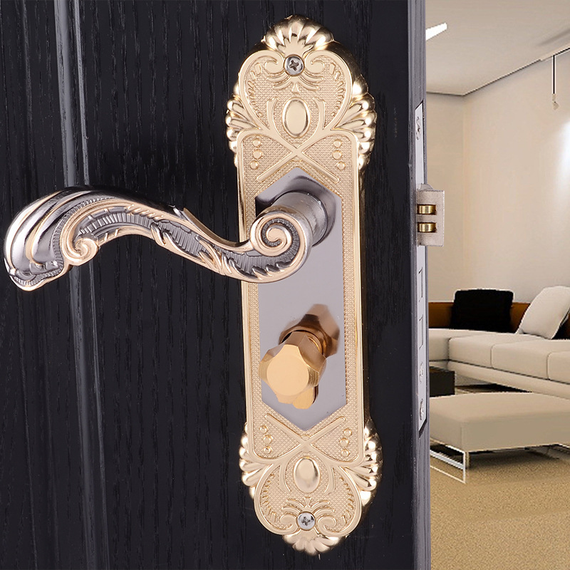European style Indoor Door lock Bedroom door locks Titanium black gold handle lock bathroom door handle unilocks european indoor door locks kitchen balcony toilet door lock invisible recessed locks