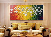 3 Panels Handpainted Canvas Wall Art Abstract Painting Modern Acrylic Flowers Palette Knife Oil Painting Home Decoration