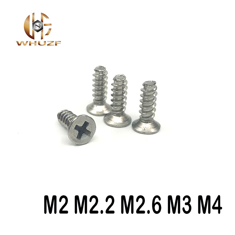 M2 M2.2 <font><b>M2.6</b></font> M3 M4 <font><b>screws</b></font> 304 stainless steel countersunk head flat head self tapping flat tail <font><b>screws</b></font> image