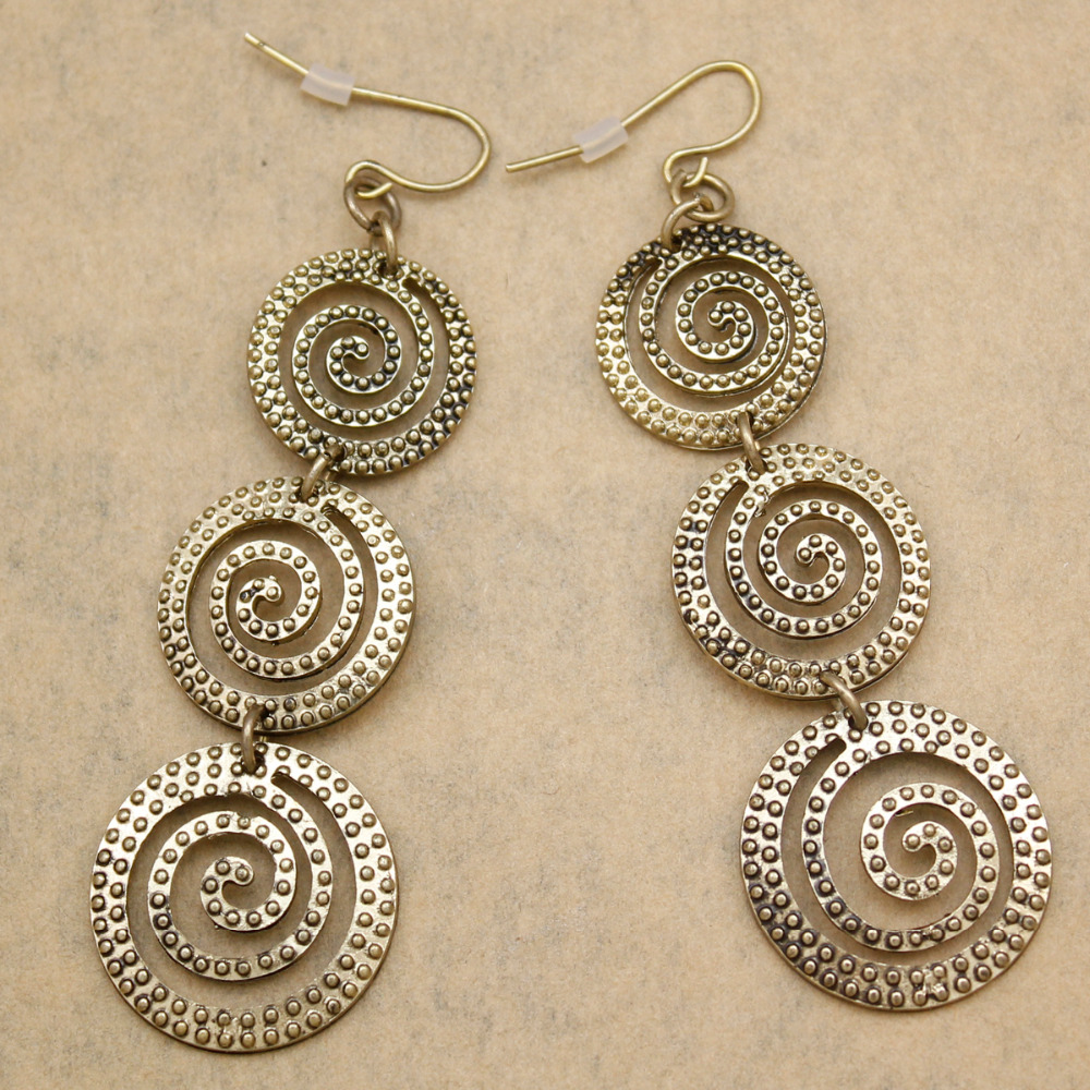 Ethnic Viking Vintage Gold Indian Round Dot Swirl Spiral Hoop Long Drop  Dangle Ethno Earrings For