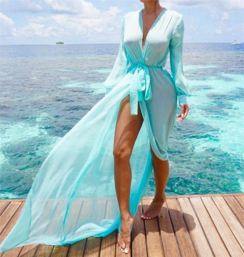 חוף כיסוי ups טוניקה Pareos בגדי ים נשים 2018 ביקיני ארוך שרוול תחבושת קרדיגן לחפות שיפון בגדי ים החוף לשחות ללבוש