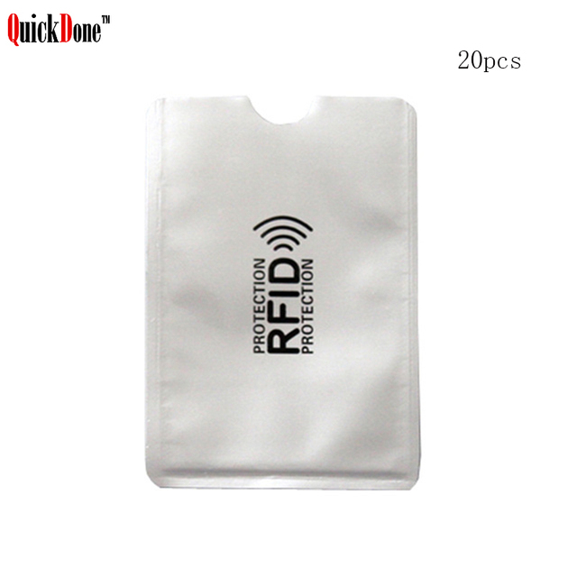 QuickDone 20Pcs/Set Anti Scan RFID Blocker Card Wallet Storage Bag NFC Shielding ID Card Case Protection Pouch  Organizer DK0377