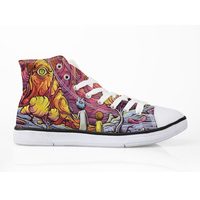 ELVISWORDS Rick and Morty Teenagers Canvas Shoes Breathable Flat Vulcanize Shoe Man Walking High Top Sneakers Autumn Men 39 45