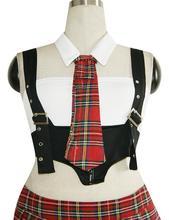 Hot Sale Free Shipping sexy 4 piece school girl fance Tartan Design dress costume W292258