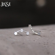 JINSE 925 Sterling Silver Three Stars Stud Earrings For Women Fashion Girl Prevent Allergy Sterling-Silver-Jewelry 12mm