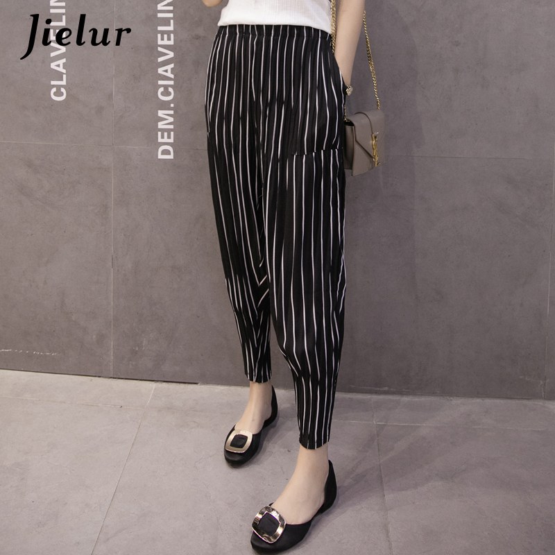 Jielur 2019 New Fashion Polka Dot Stripe Trousers Pure Color Chiffon Women Harem   Pants   Summer Female   Capris   Pantalon Femme S-2XL