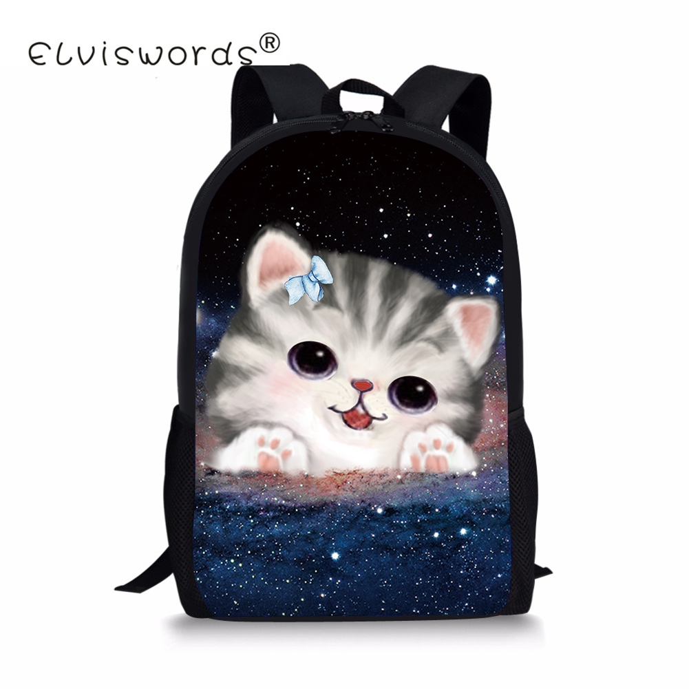 Cute Galaxy Cats Knapsacks For School Students 3D Printing Cute Schoolbags Students Kids Shoulder Back Pack Backbag for Girls
