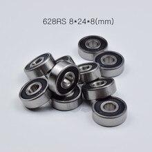 628rs 8*24*8(mm) 10 peças rolamentos de borracha selado em miniatura mini rolamento 628 628rs aço cromado rolamento sulco profundo